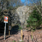 Entrance of the climbing spot Spreeler Mühle with a sign